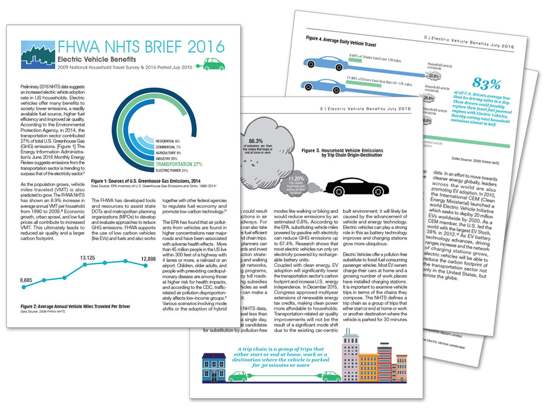 2016 FHWA NHTS frour page brief about electric vehicle benefits